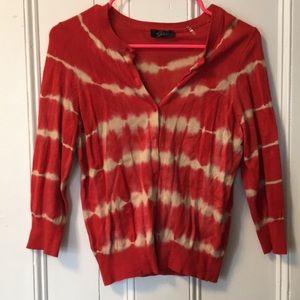 Sweaters - Orange Tie-Dye Cardigan